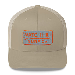 Watch Hill Surf Co. 'Patch Logo' Trucker Cap (Grey/Orange) - Watch Hill RI t-shirts with vintage surfing and motorcycle designs.
