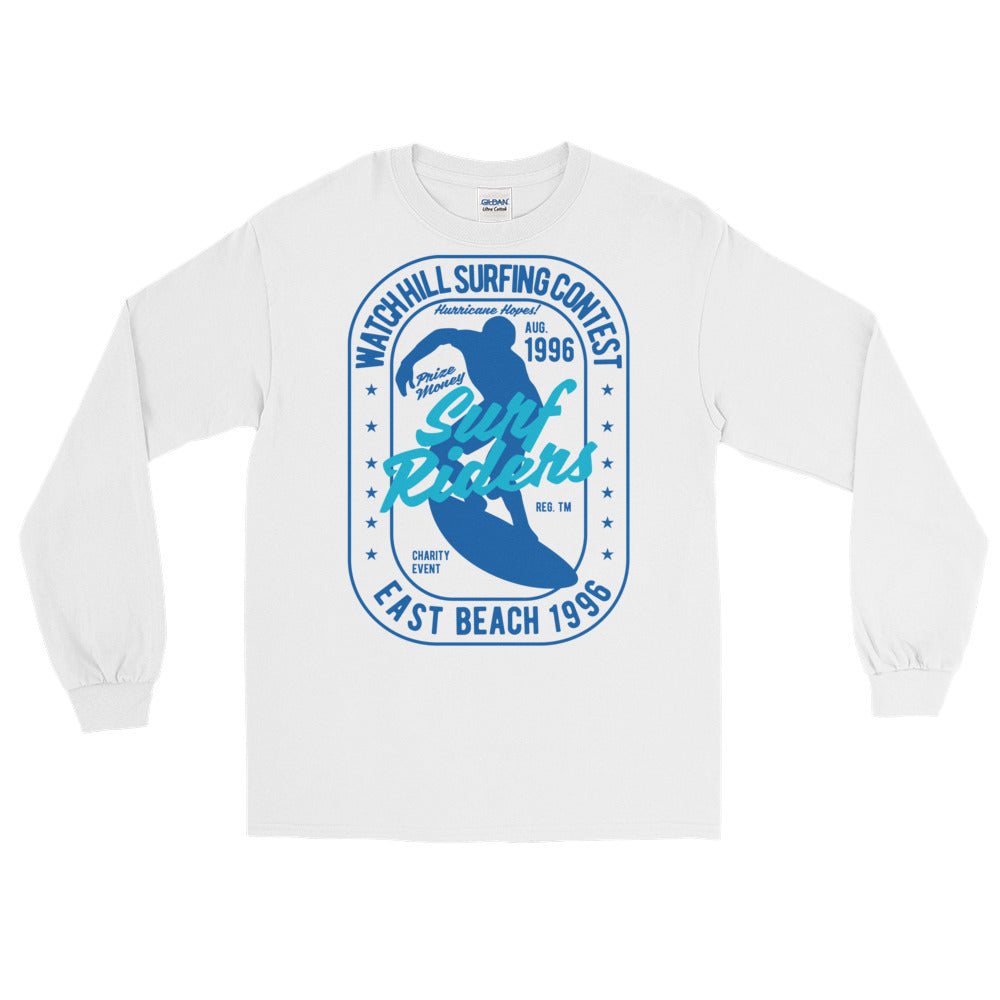 Watchill'n 'Surf Rider' - Long-Sleeve T-Shirt (Navy) - Watch Hill RI t-shirts with vintage surfing and motorcycle designs.