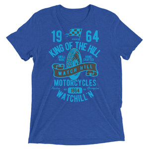 Watchill'n 'King of the Hill' Unisex Short sleeve t-shirt (Lt Blue/Black) - Watch Hill RI t-shirts with vintage surfing and motorcycle designs.