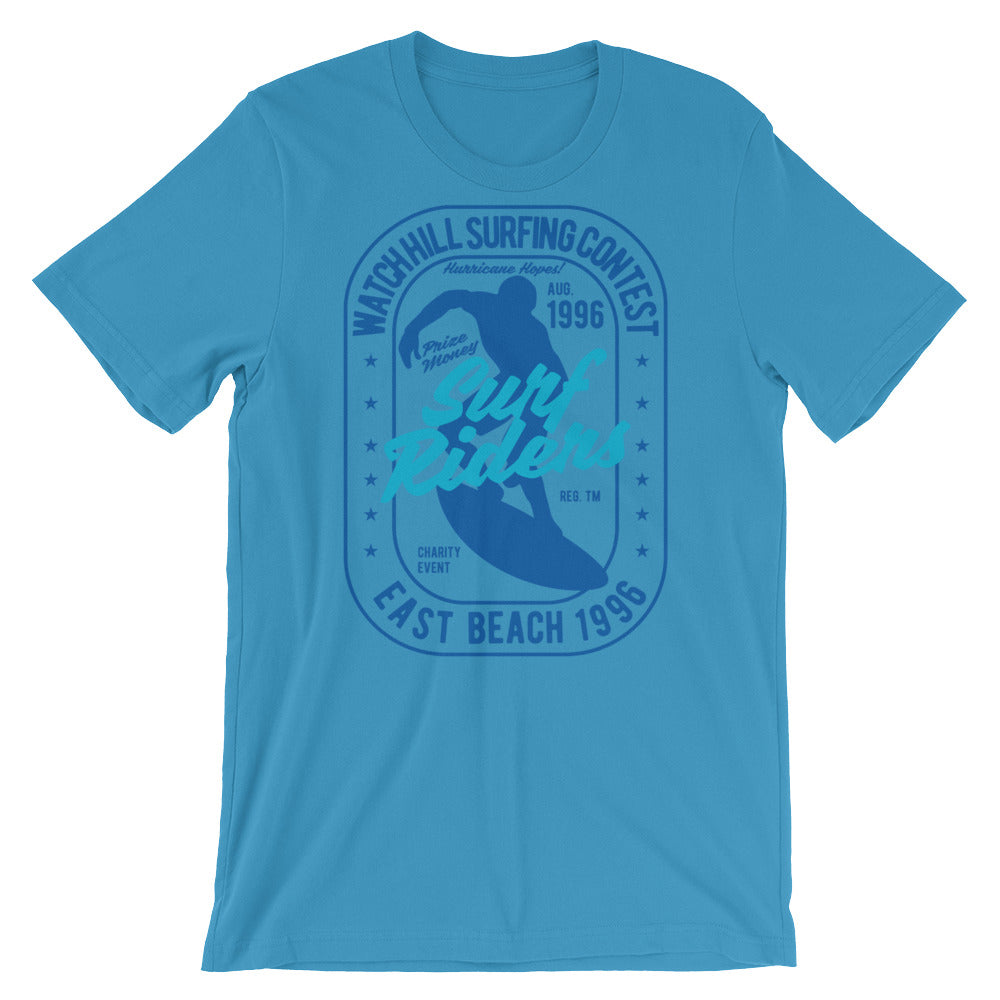 Watchill'n 'Surf Rider' - Short-Sleeve Unisex T-Shirt (Navy) - Watch Hill RI t-shirts with vintage surfing and motorcycle designs.