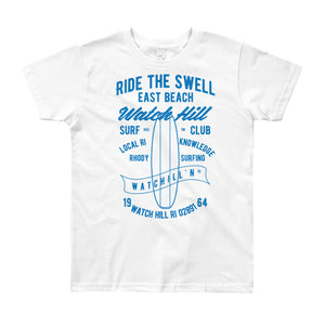 Watchill'n 'Ride the Swell' - Youth Short Sleeve T-Shirt (Blue) - Watch Hill RI t-shirts with vintage surfing and motorcycle designs.