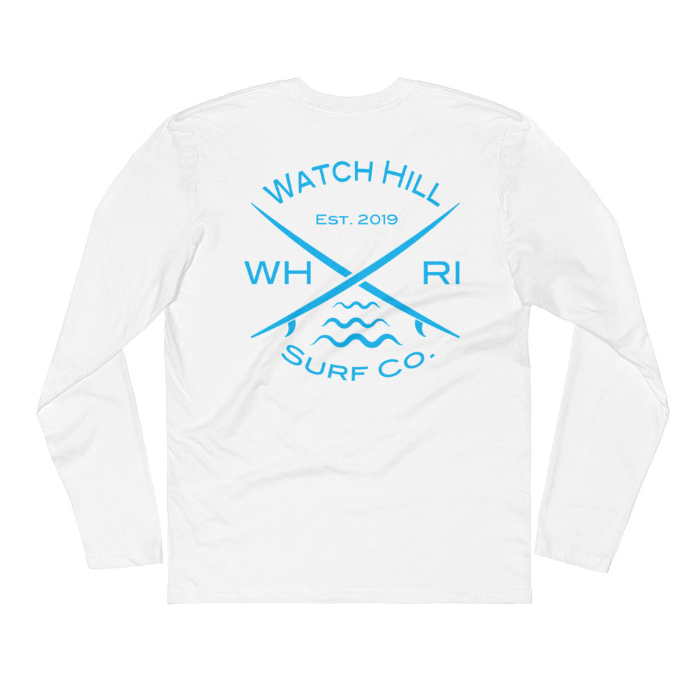Watch Hill 'Surf Co.' Premium Long Sleeve Fitted Crew (Cyan) - Watch Hill RI t-shirts with vintage surfing and motorcycle designs.