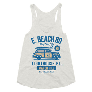 Watchill'n 'Beach Buggy' - Women's Tri-Blend Racerback Tank (Blue) - Watch Hill RI t-shirts with vintage surfing and motorcycle designs.