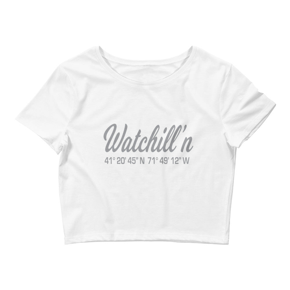 Watchill'n 'Coordinates' Logo - Women's Crop Tee (Grey) - Watch Hill RI t-shirts with vintage surfing and motorcycle designs.