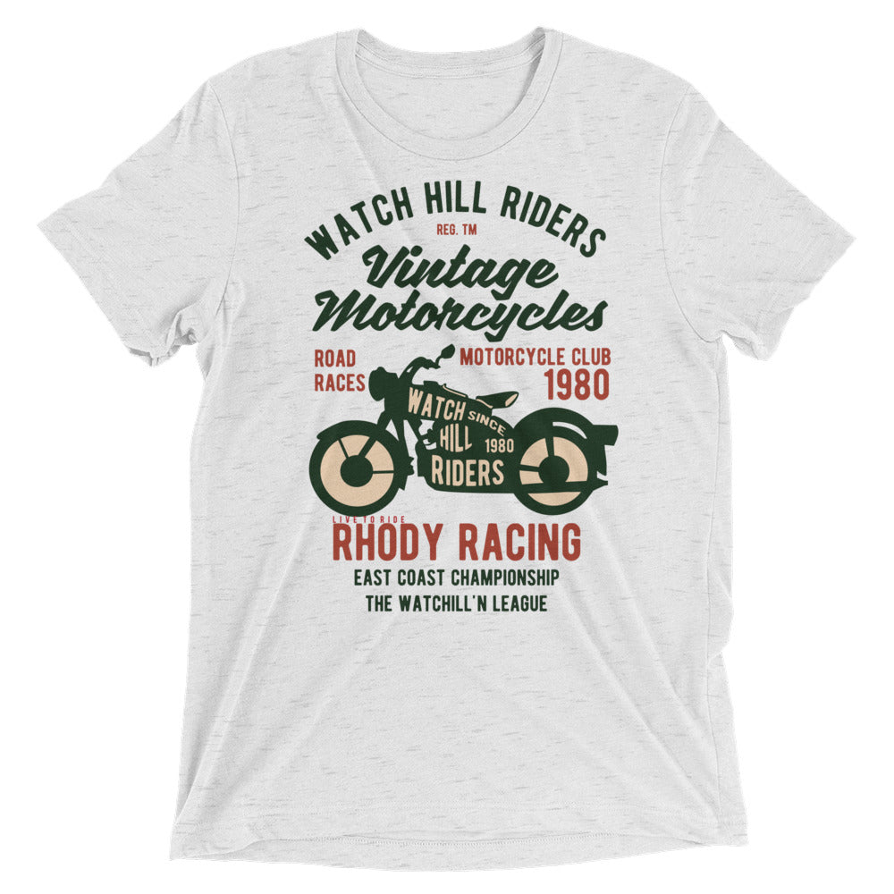 Watch Hill 'Vintage Motorcyles' Unisex Short sleeve t-shirt (Dk Green/Creme) - Watch Hill RI t-shirts with vintage surfing and motorcycle designs.