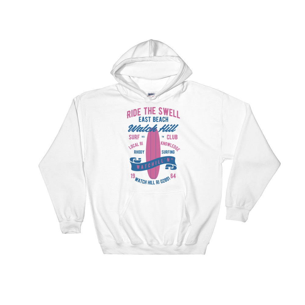 Watchill'n 'Ride the Swell' - Hoodie (Blue/Pink) - Watch Hill RI t-shirts with vintage surfing and motorcycle designs.