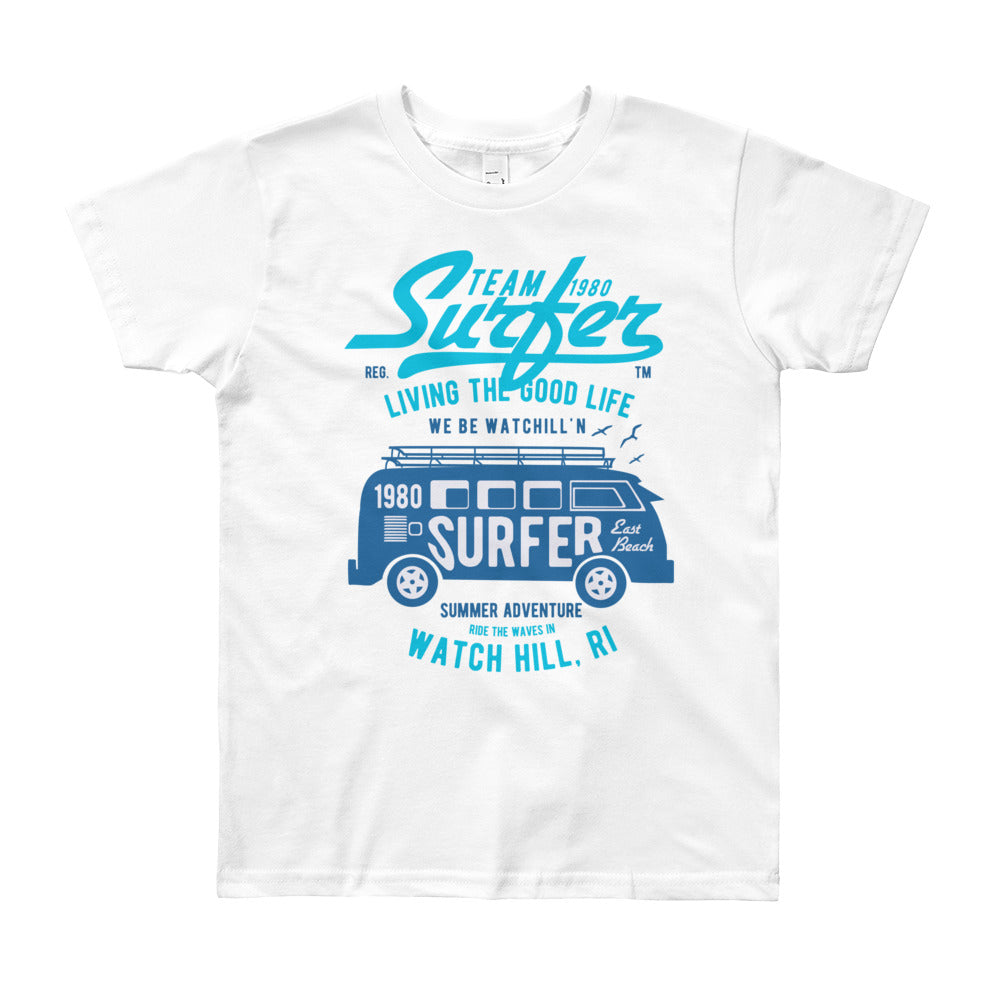 Watchill'n 'Team Surfer' - Youth Short Sleeve T-Shirt (Blue/Turquoise) - Watch Hill RI t-shirts with vintage surfing and motorcycle designs.