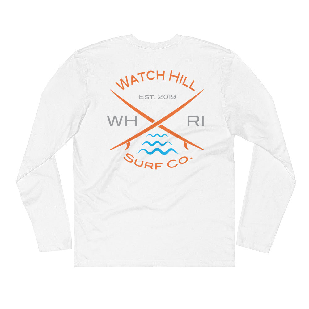Watch Hill 'Surf Co.' Premium Long Sleeve Fitted Crew (Orange/Grey/Cyan) - Watch Hill RI t-shirts with vintage surfing and motorcycle designs.