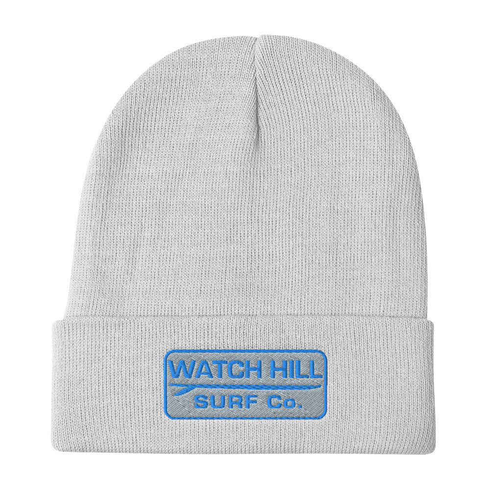 Watch Hill Surf Co. 'Patch Logo' Embroidered Beanie (Blue) - Watch Hill RI t-shirts with vintage surfing and motorcycle designs.