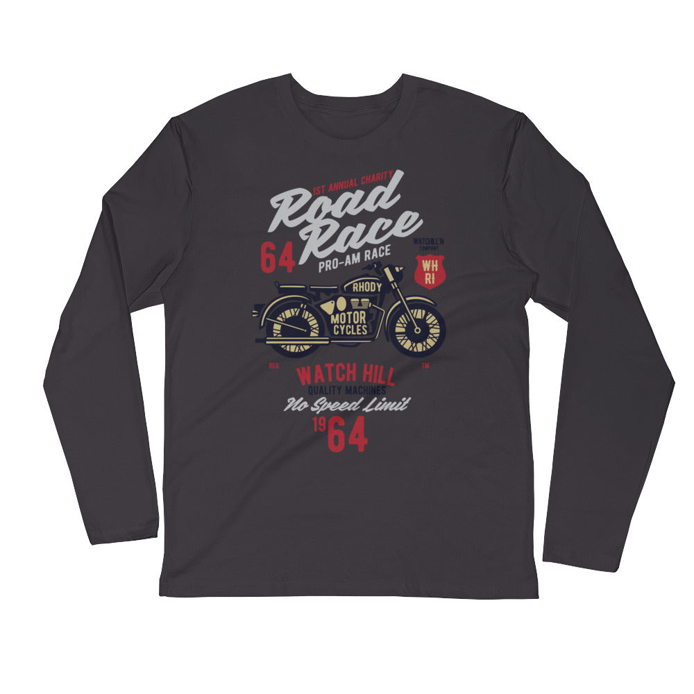 Watchill'n 'Road Race' Premium Long Sleeve Fitted Crew (Maroon/Grey) - Watchill'n