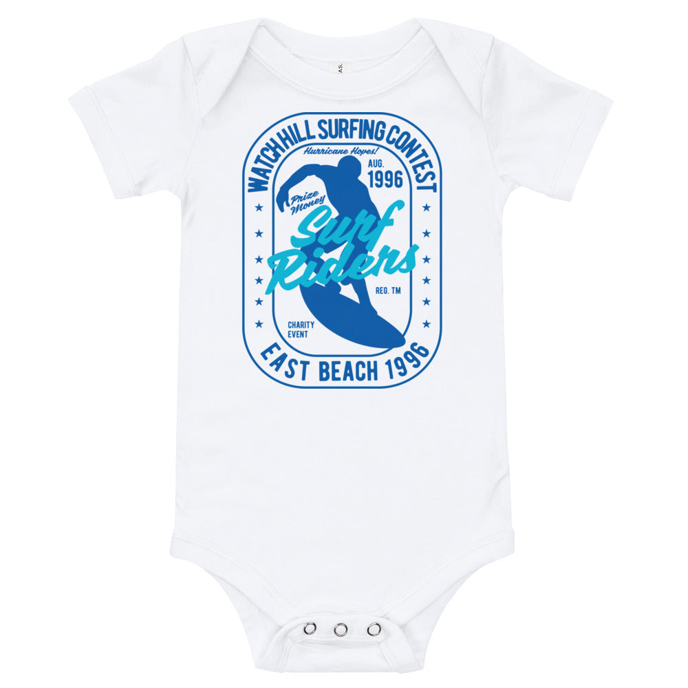 Watchill'n 'Surf Rider' - Baby Jersey Short Sleeve One Piece (Blue) - Watch Hill RI t-shirts with vintage surfing and motorcycle designs.