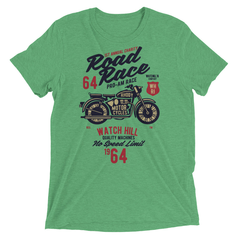 Watchill'n 'Road Race' Unisex Short sleeve t-shirt (Red/Black) - Watch Hill RI t-shirts with vintage surfing and motorcycle designs.