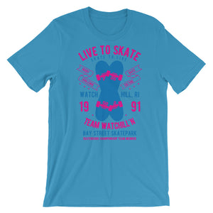 Watchill'n 'Live to Skate' - Short-Sleeve Unisex T-Shirt (Pink/Blue) - Watch Hill RI t-shirts with vintage surfing and motorcycle designs.