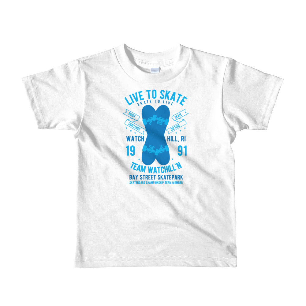Watchill'n 'Live to Skate' - Short sleeve kids t-shirt (Blue) - Watch Hill RI t-shirts with vintage surfing and motorcycle designs.