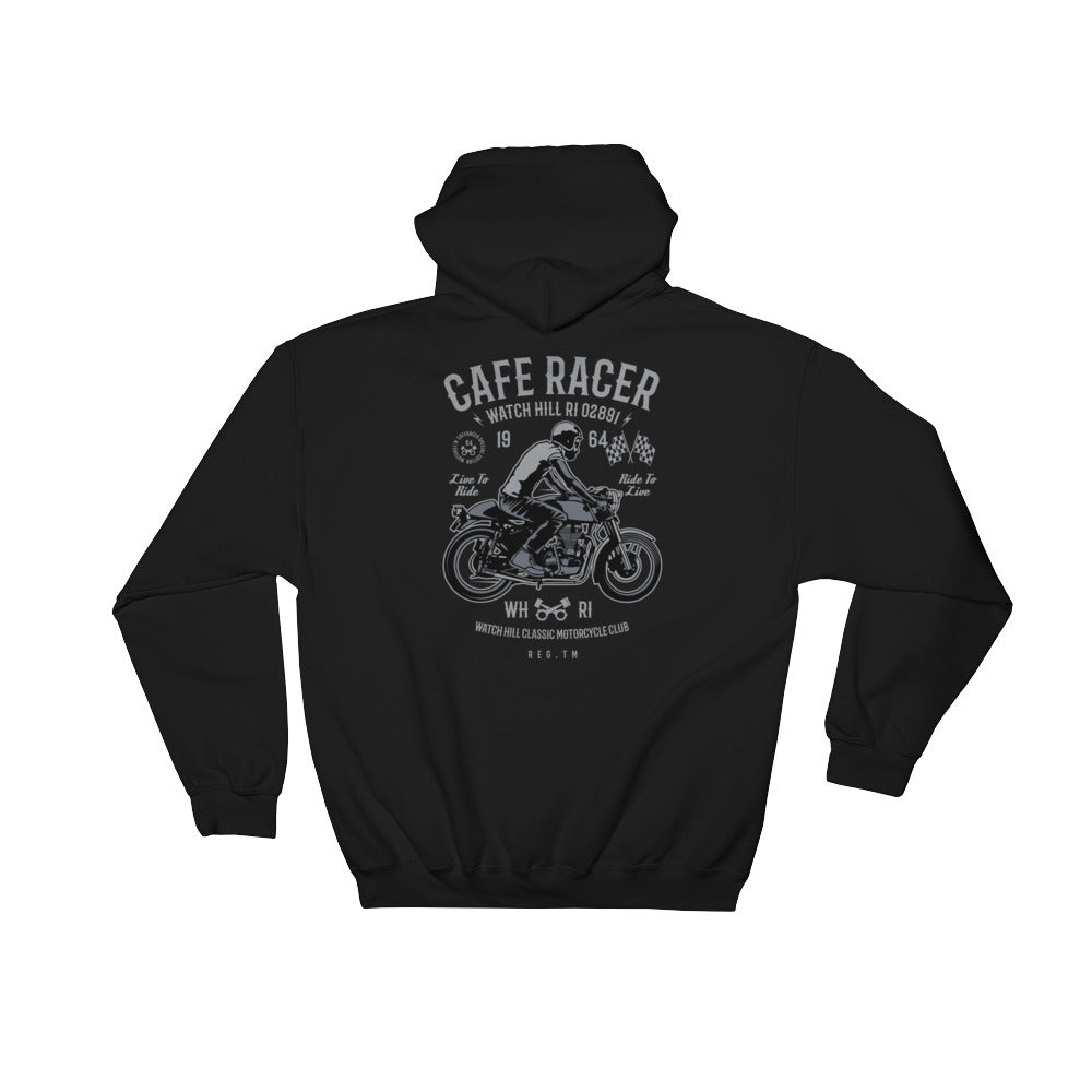 Watchill'n 'Cafe Racer' - Hooded Sweatshirt (Grey) - Watch Hill RI t-shirts with vintage surfing and motorcycle designs.