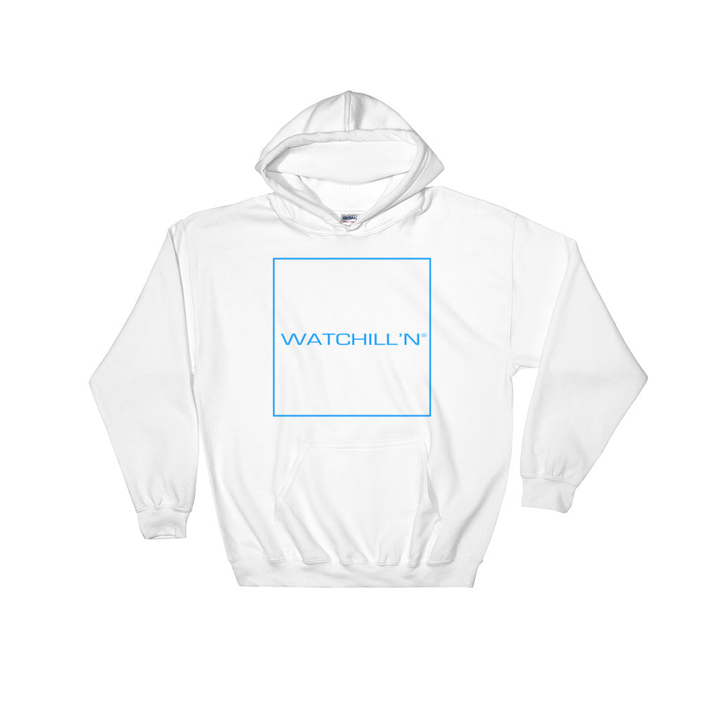Watchill'n 'Box Logo' - Hoodie (Blue) - Watch Hill RI t-shirts with vintage surfing and motorcycle designs.