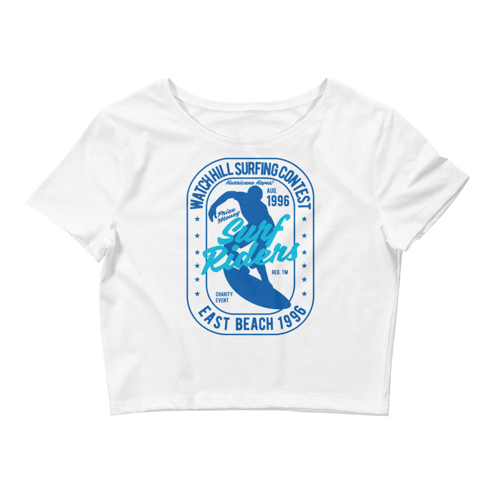 Watchill'n 'Surf Rider' - Women's Crop Tee (Blue/Cyan) - Watch Hill RI t-shirts with vintage surfing and motorcycle designs.