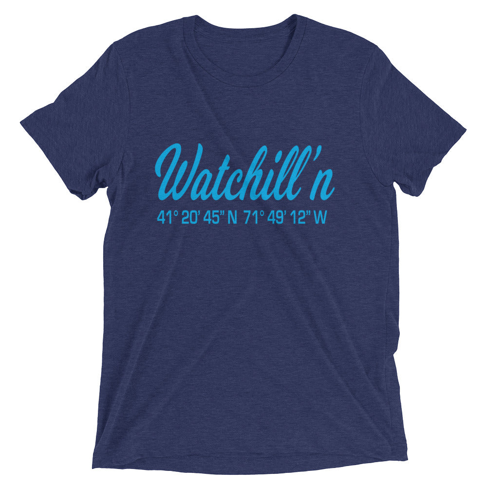 Watchill'n 'Coordinates' Logo Premium Unisex Short Sleeve T-shirt (Cyan) - Watch Hill RI t-shirts with vintage surfing and motorcycle designs.