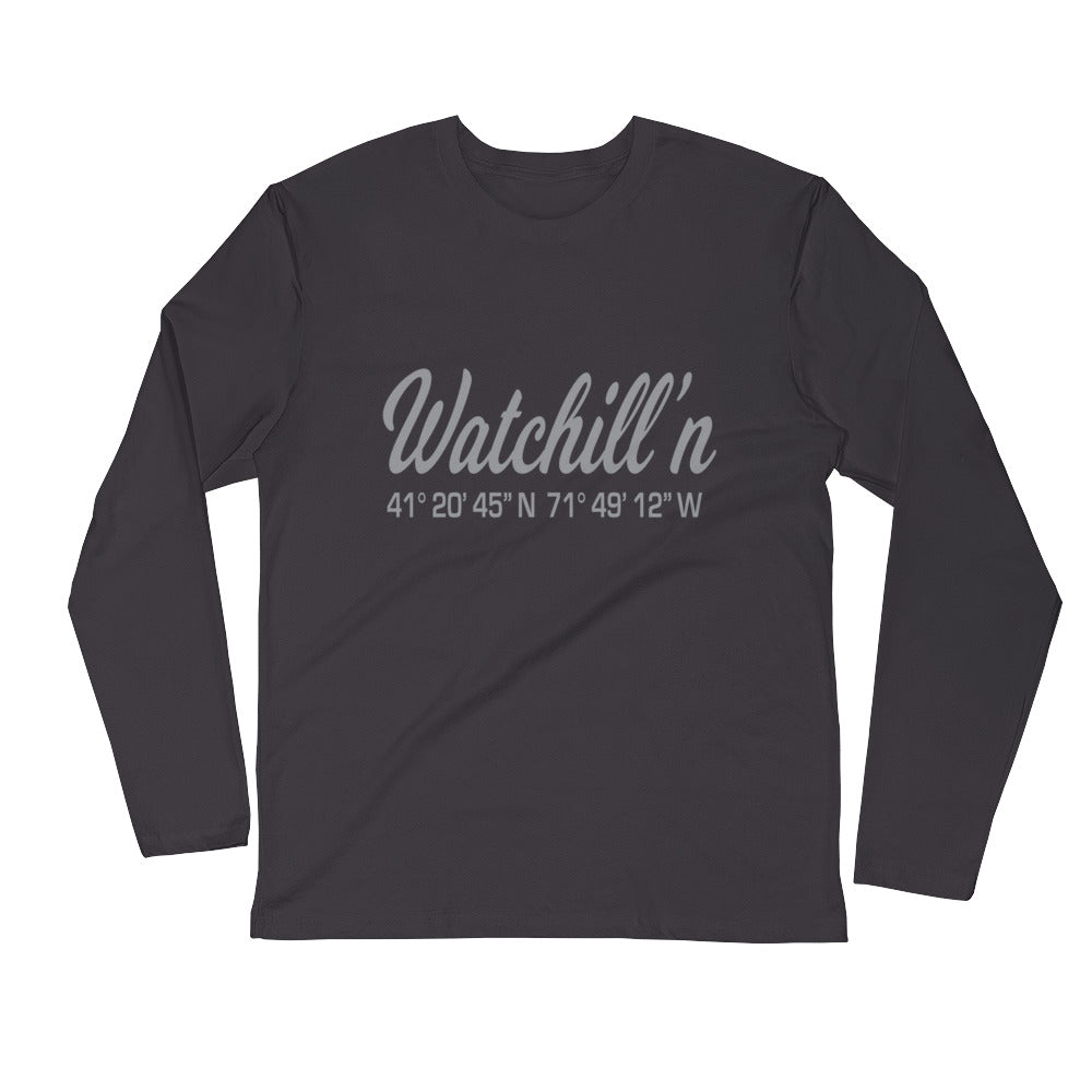 Watchill'n 'Coordinate' Logo Premium Long Sleeve Fitted Crew (Grey) - Watch Hill RI t-shirts with vintage surfing and motorcycle designs.