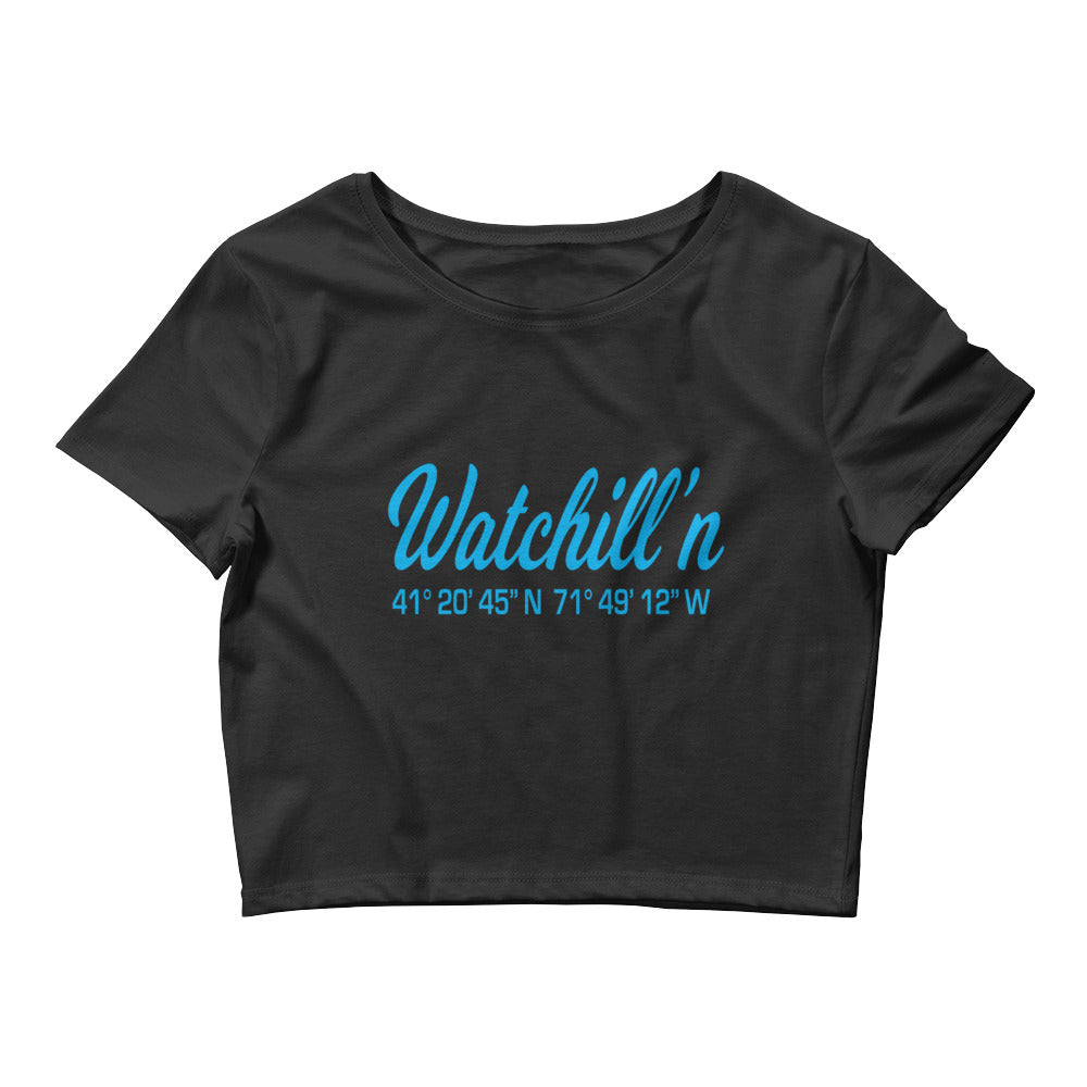 Watchill'n 'Coordinates' Logo - Women's Crop Tee (Cyan) - Watch Hill RI t-shirts with vintage surfing and motorcycle designs.