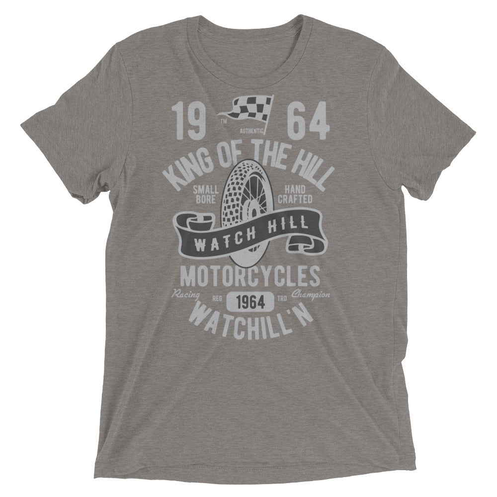 Watchill'n 'King of the Hill' Unisex Short sleeve t-shirt (Grey/Black) - Watch Hill RI t-shirts with vintage surfing and motorcycle designs.