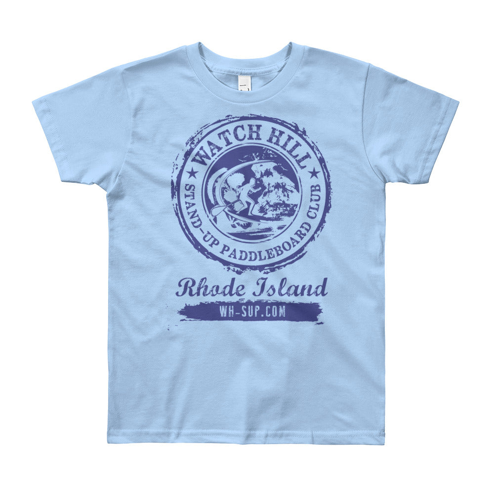 Watchill'n 'Paddle Board Club #3' - Youth Short Sleeve T-Shirt (Blue) - Watch Hill RI t-shirts with vintage surfing and motorcycle designs.