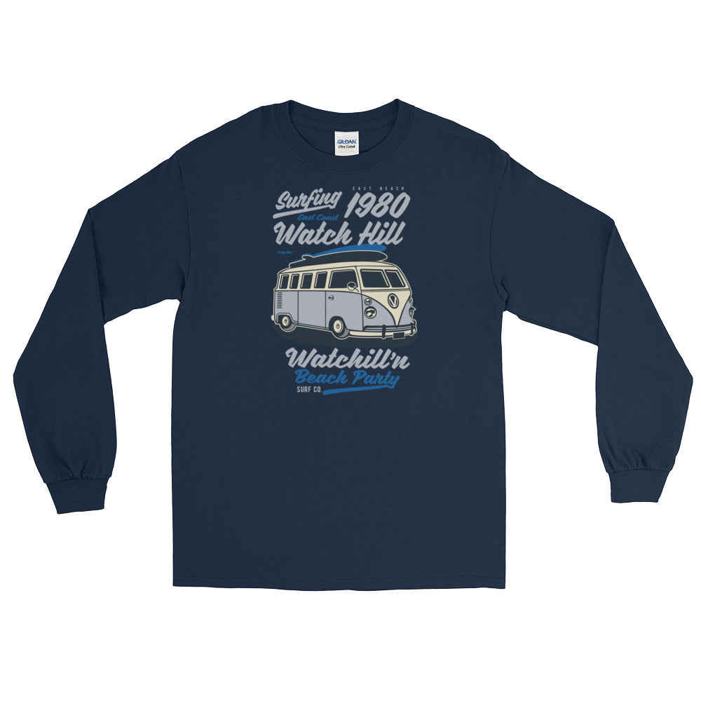 Watchill'n 'Beach Party' - Long-Sleeve T-Shirt (Lavender) - Watch Hill RI t-shirts with vintage surfing and motorcycle designs.