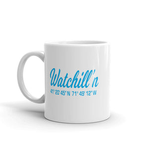 Watchill'n 'Local Coordinates' Ceramic Mug - (Cyan) - Watch Hill RI t-shirts with vintage surfing and motorcycle designs.