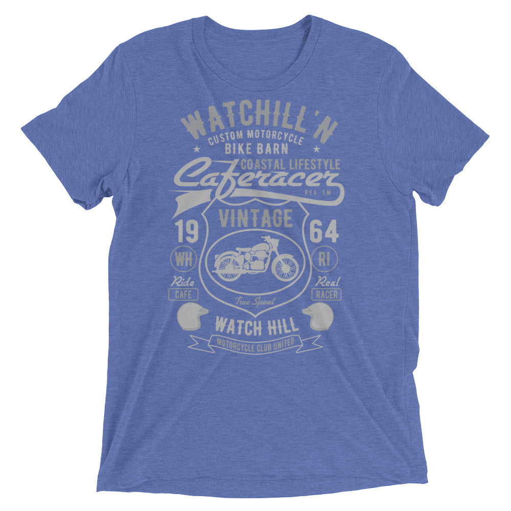 Watchill'n 'Bike Barn' Unisex Short sleeve t-shirt (Dk Grey/Grey) - Watch Hill RI t-shirts with vintage surfing and motorcycle designs.