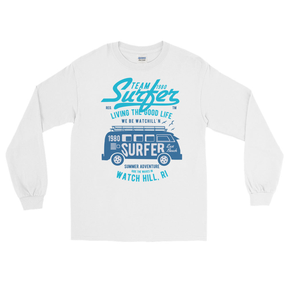 Watchill'n 'Team Surfer' - Long-Sleeve T-Shirt (Turquoise) - Watch Hill RI t-shirts with vintage surfing and motorcycle designs.