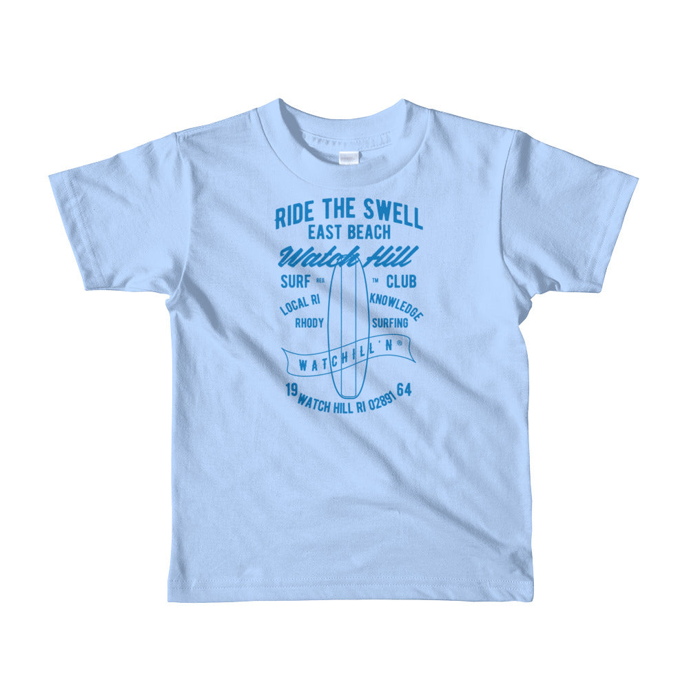 Watchill'n 'Ride the Swell' - Short sleeve kids t-shirt (Blue) - Watch Hill RI t-shirts with vintage surfing and motorcycle designs.
