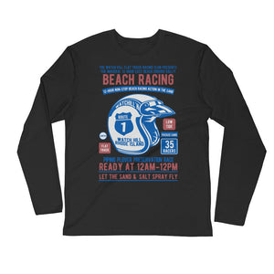 Watchill'n 'Beach Racing' Premium Long Sleeve Fitted Crew (Blue/Rust) - Watch Hill RI t-shirts with vintage surfing and motorcycle designs.