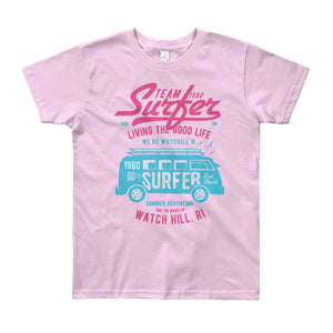 Watchill'n 'Team Surfer' - Youth Short Sleeve T-Shirt (Pink/Turquoise) - Watchill'n