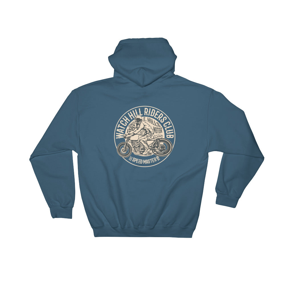 Watchill'n 'Riders Club' - Hooded Sweatshirt (Tan) - Watch Hill RI t-shirts with vintage surfing and motorcycle designs.