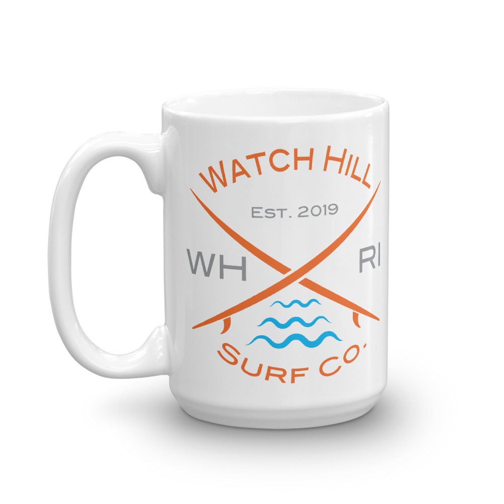 Watch Hill 'Surf Co.' Ceramic Mugs in 11oz. or 15oz. (Orange/Grey/Cyan) - Watch Hill RI t-shirts with vintage surfing and motorcycle designs.