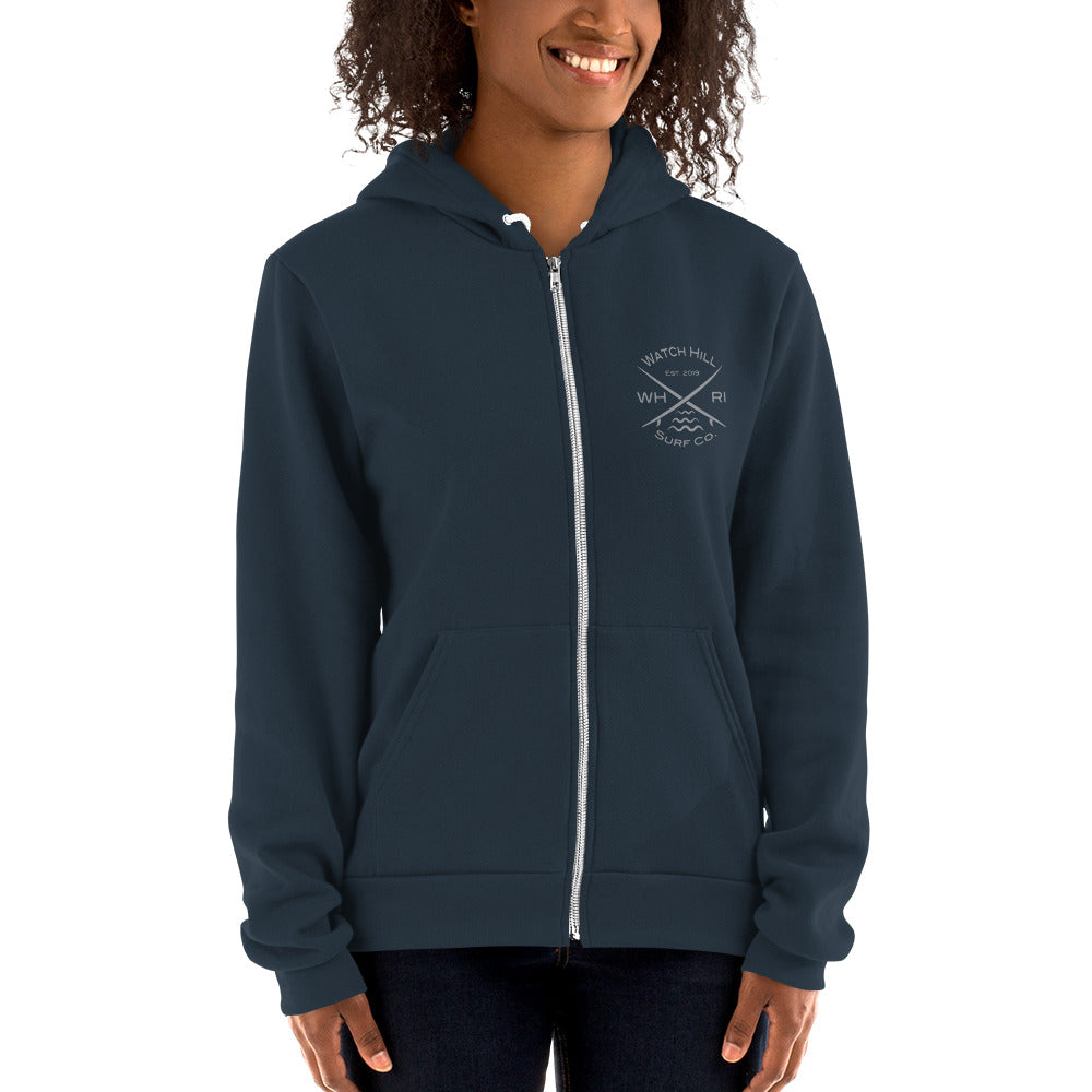 Watch Hill 'Surf Co.' Premium Hoodie sweater (Grey) - Watch Hill RI t-shirts with vintage surfing and motorcycle designs.