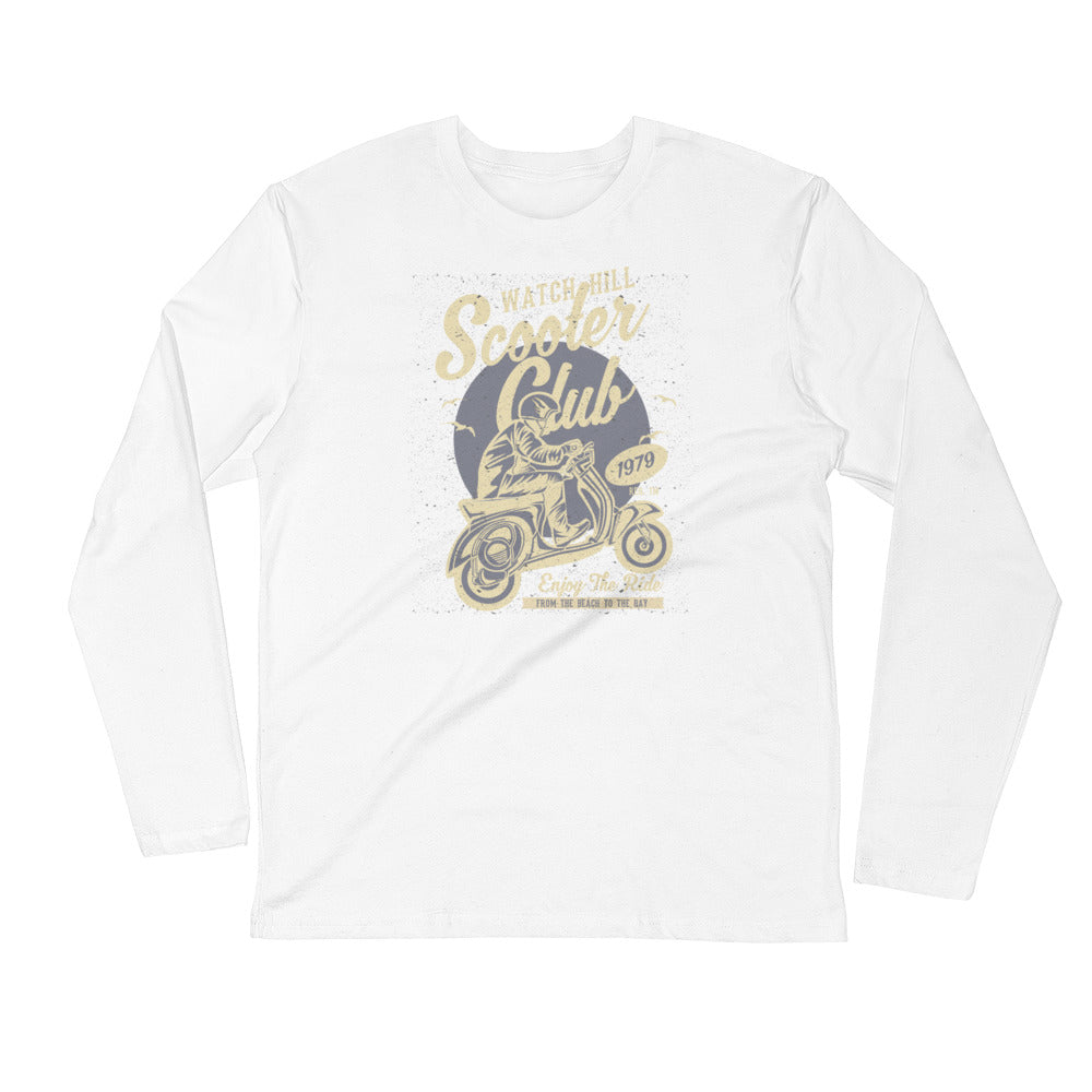 Watchill'n 'Scooter Rider' Premium Long Sleeve Fitted Crew (Tan/Grey) - Watch Hill RI t-shirts with vintage surfing and motorcycle designs.