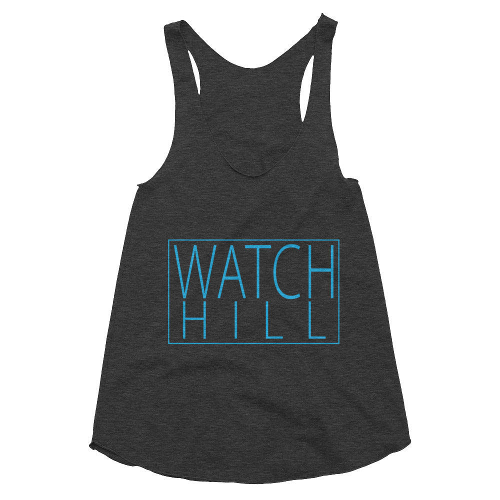 Watch Hill 'Rectangular Logo' Women's Tri-Blend Racerback Tank (Cyan) - Watch Hill RI t-shirts with vintage surfing and motorcycle designs.