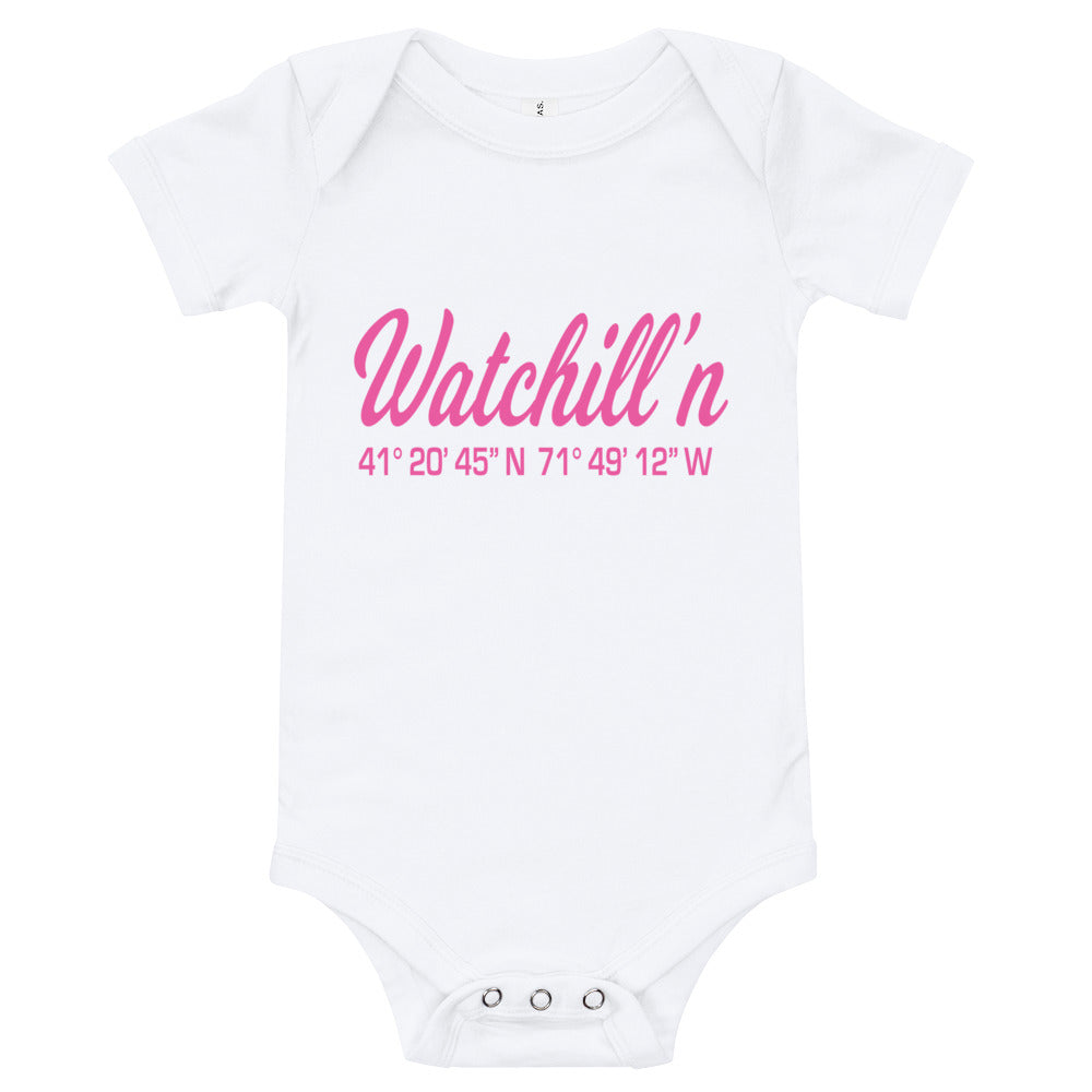 Watchill'n 'Coordinates' - Baby Jersey Short Sleeve One Piece (Pink) - Watch Hill RI t-shirts with vintage surfing and motorcycle designs.