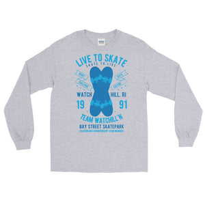 Watchill'n 'Live to Skate' - Long-Sleeve T-Shirt (Lt. Blue/Blue) - Watchill'n