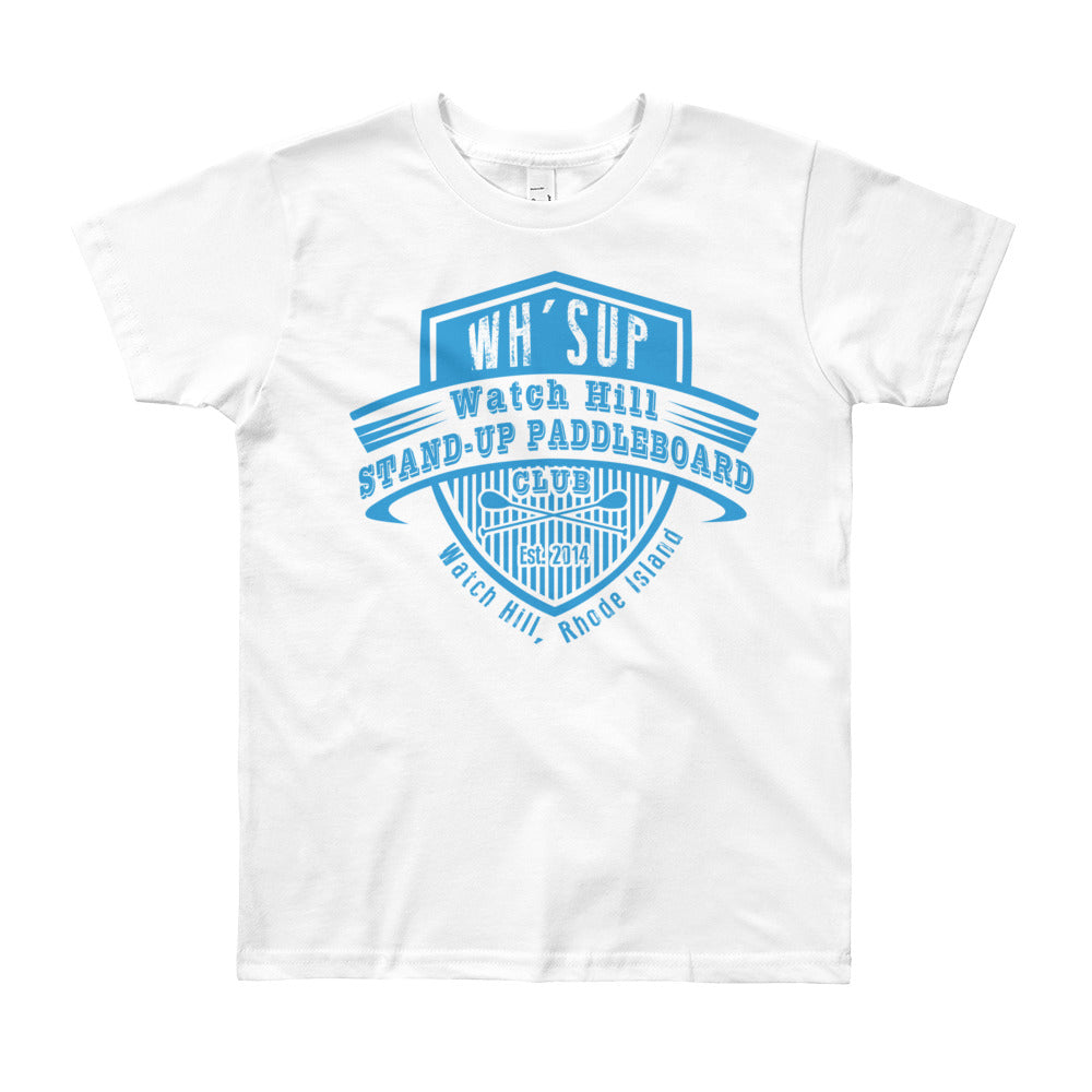 Watchill'n 'Paddle Board Club' - Youth Short Sleeve T-Shirt (Blue) - Watch Hill RI t-shirts with vintage surfing and motorcycle designs.