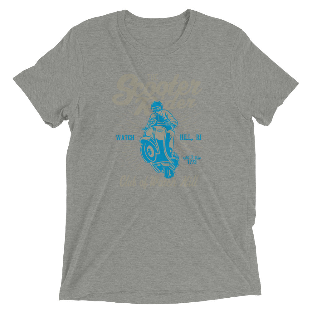 Watchill'n 'Scooter Rider' Unisex Short Sleeve t-shirt (Grey/Cyan) - Watch Hill RI t-shirts with vintage surfing and motorcycle designs.