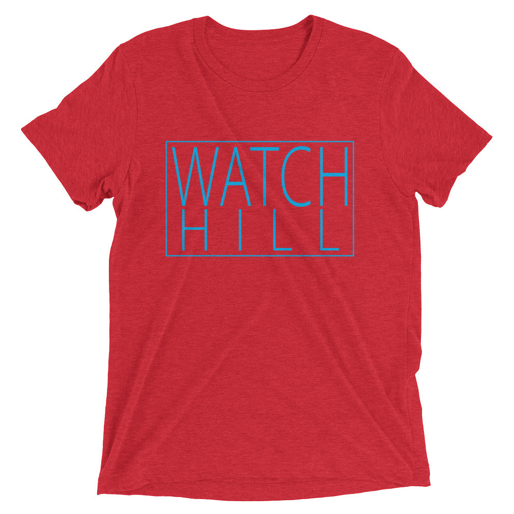 Watch Hill Rectangular Logo Premium Unisex Short Sleeve T-shirt (Cyan) - Watch Hill RI t-shirts with vintage surfing and motorcycle designs.