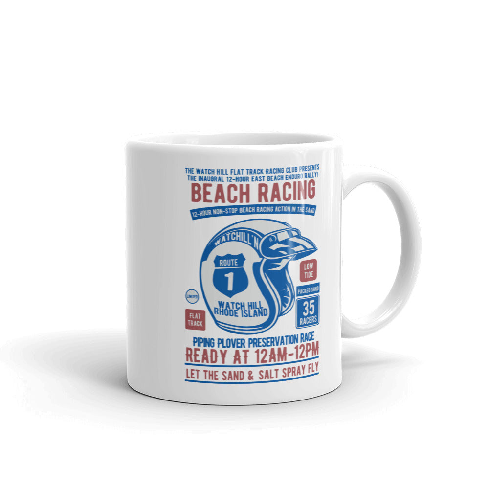 Watchill'n 'Beach Racing' Ceramic Mug - (Blue/Rust) - Watch Hill RI t-shirts with vintage surfing and motorcycle designs.