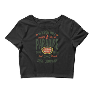 Watchill'n 'Summer Surfing' - Women's Crop Tee (Green/Terracotta) - Watch Hill RI t-shirts with vintage surfing and motorcycle designs.