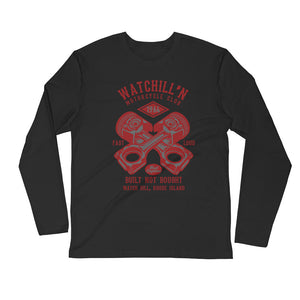 Watchill'n 'Built Not Bought' Premium Long Sleeve Fitted Crew (Red) - Watch Hill RI t-shirts with vintage surfing and motorcycle designs.