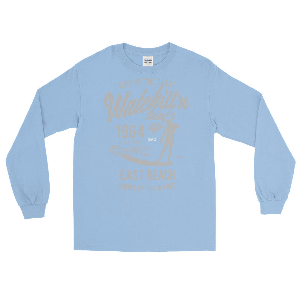 Watchill'n 'Surf's Up' - Long-Sleeve T-Shirt (Grey) - Watch Hill RI t-shirts with vintage surfing and motorcycle designs.