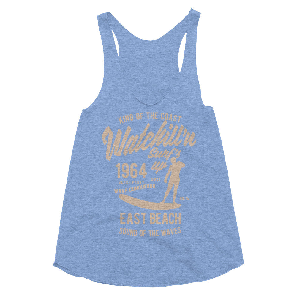 Watchill'n 'Surf's Up' - Women's Tri-Blend Racerback Tank (Khaki) - Watch Hill RI t-shirts with vintage surfing and motorcycle designs.