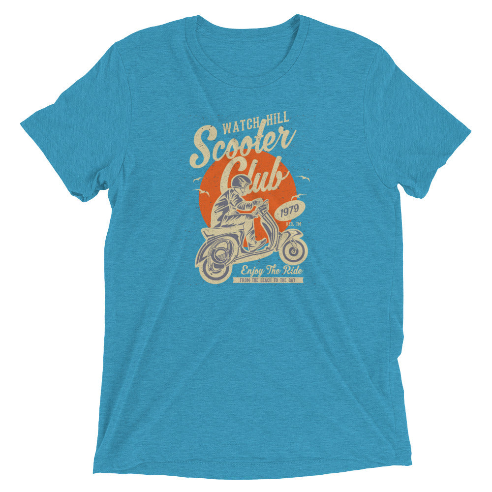 Watchill'n 'Scooter Club' Unisex Short Sleeve t-shirt (Creme/Orange) - Watch Hill RI t-shirts with vintage surfing and motorcycle designs.