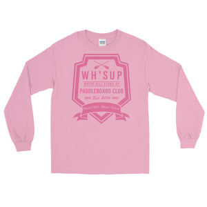 Watchill'n 'Paddle Board Club #2' - Long-Sleeve T-Shirt (Pink) - Watch Hill RI t-shirts with vintage surfing and motorcycle designs.